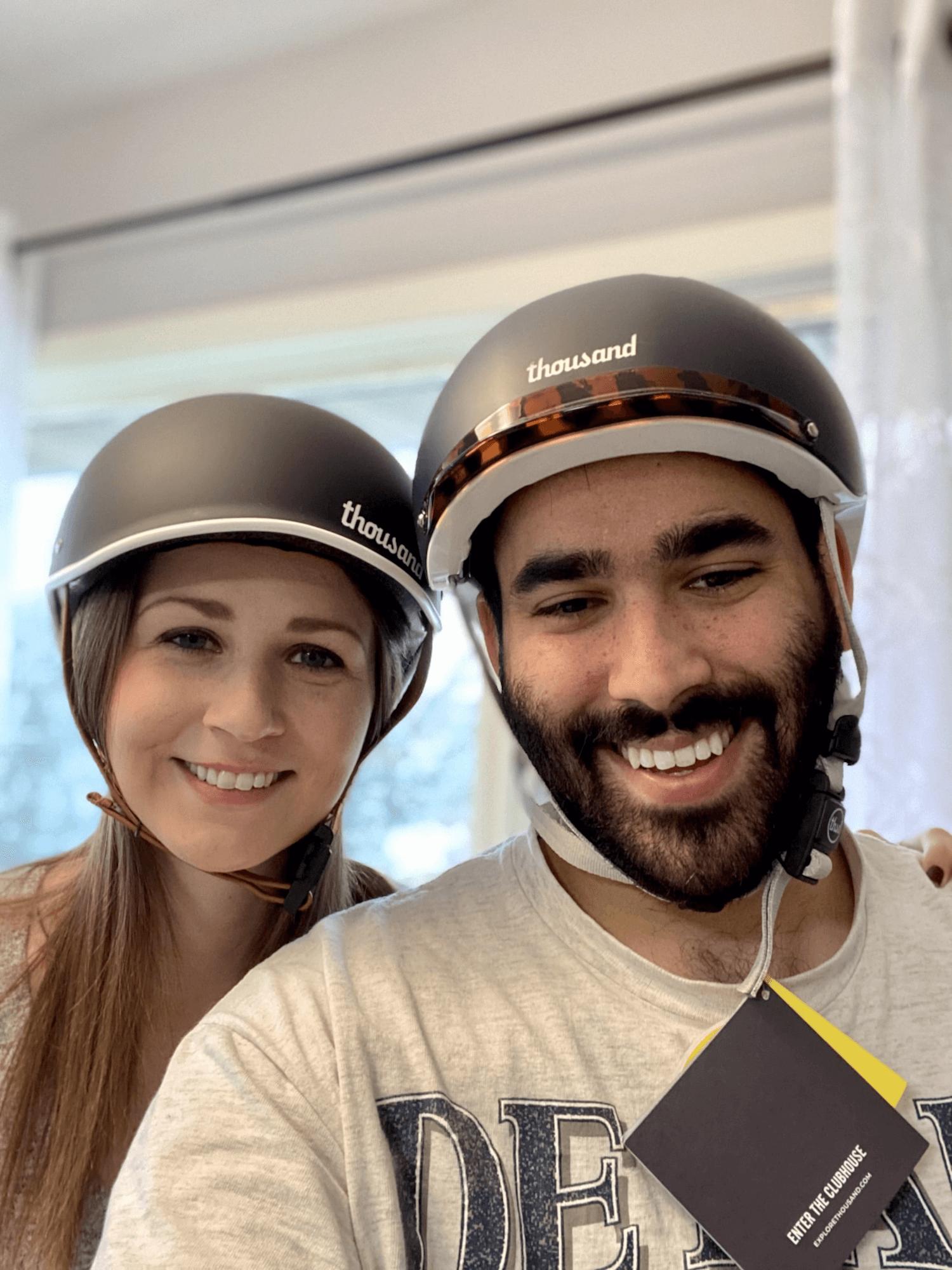 Mandy and Sagar wearing Thousand helmets