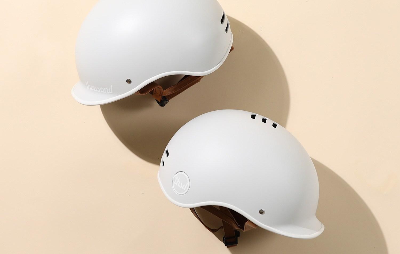 Grey bike helmets