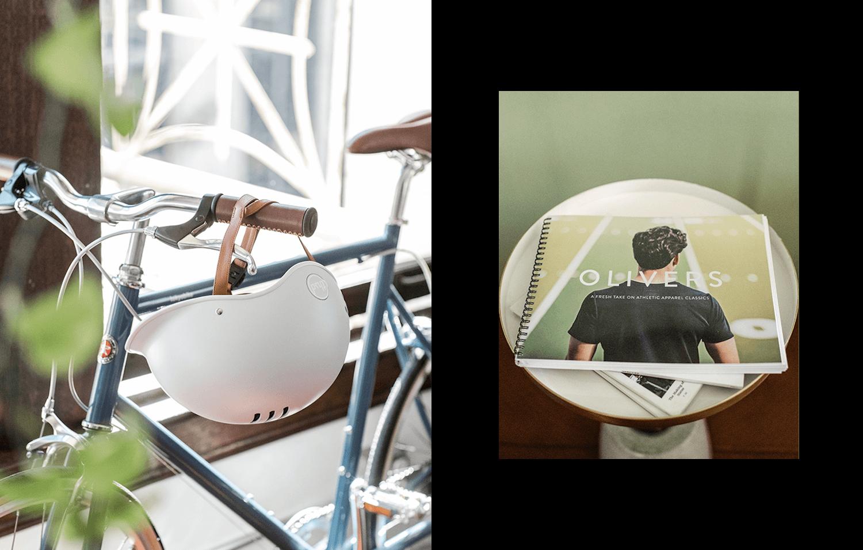 Grey bike helmet with bike
