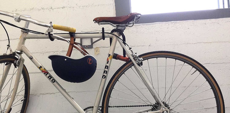 Bike with blue bike helmet