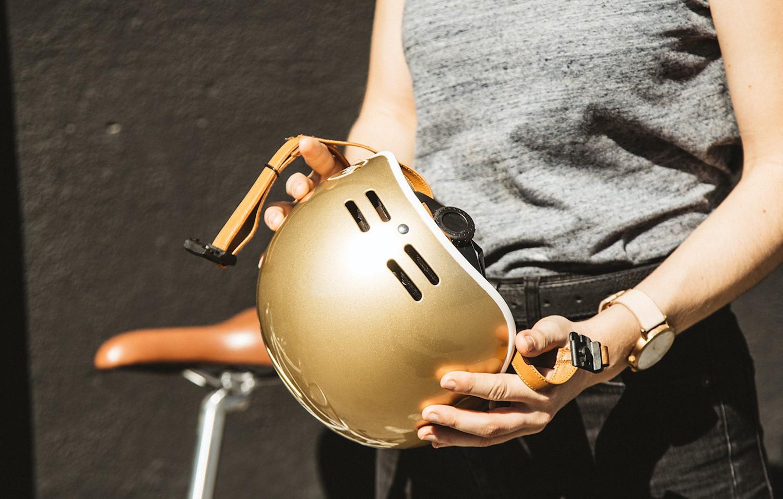 Gold bike helmet