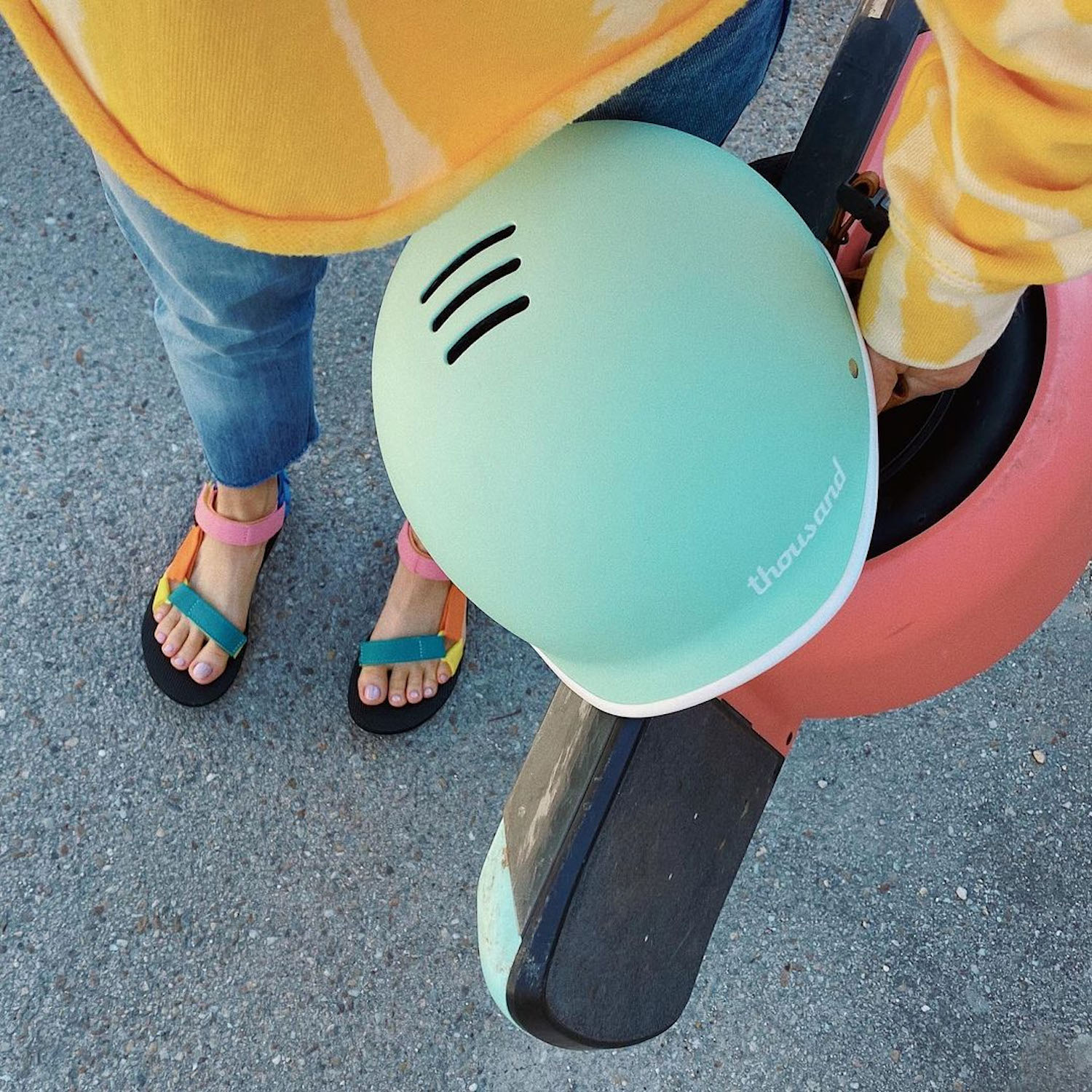 electric skateboard and Thousand helmet