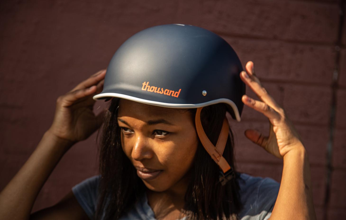 Blue bike helmet