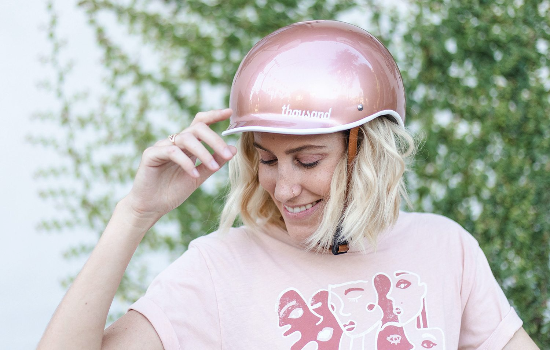 Dani Nagel wearing Rose Gold bike helmet