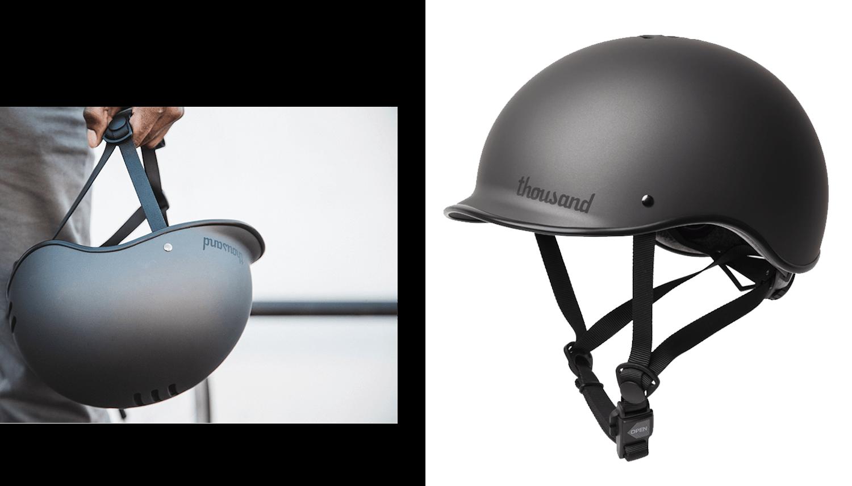 Black bike helmet with black nylon straps
