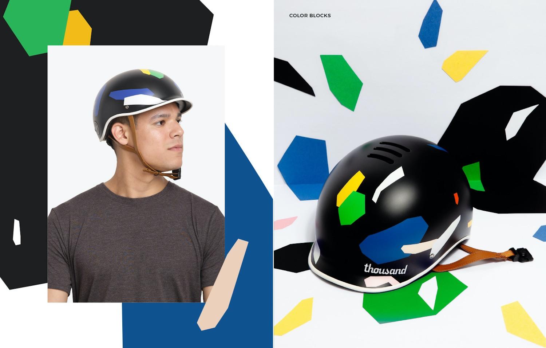 Thousand x Poketo collaboration bike helmets, Color Blocks