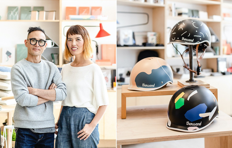 Thousand x Poketo collaboration bike helmets