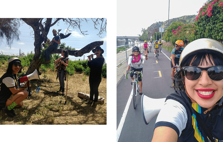 Areli Moralesm with bike and gold bike helmet