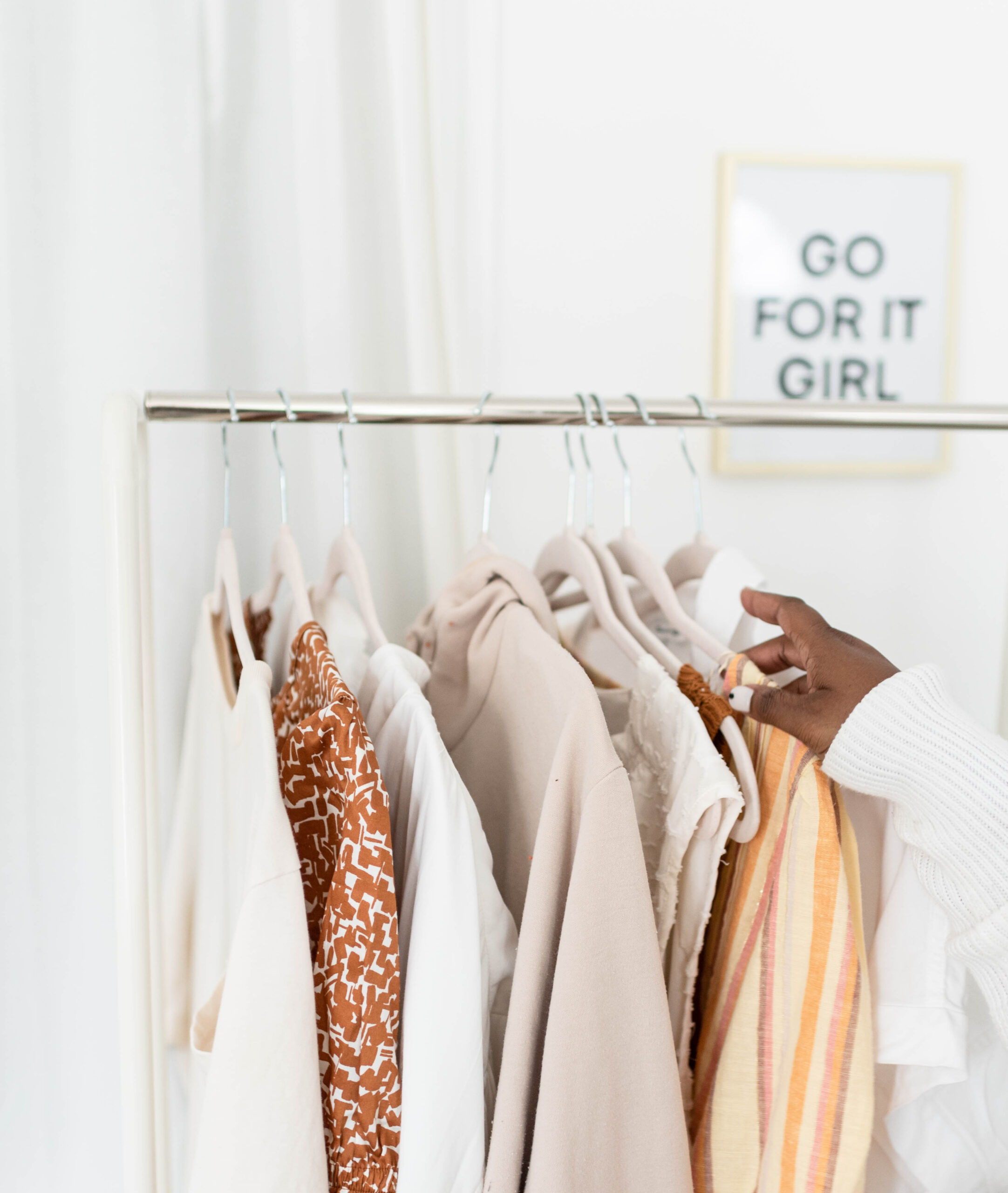 clothes, clothes rack, light, neutral, what to do if your client chooses a bad outfit