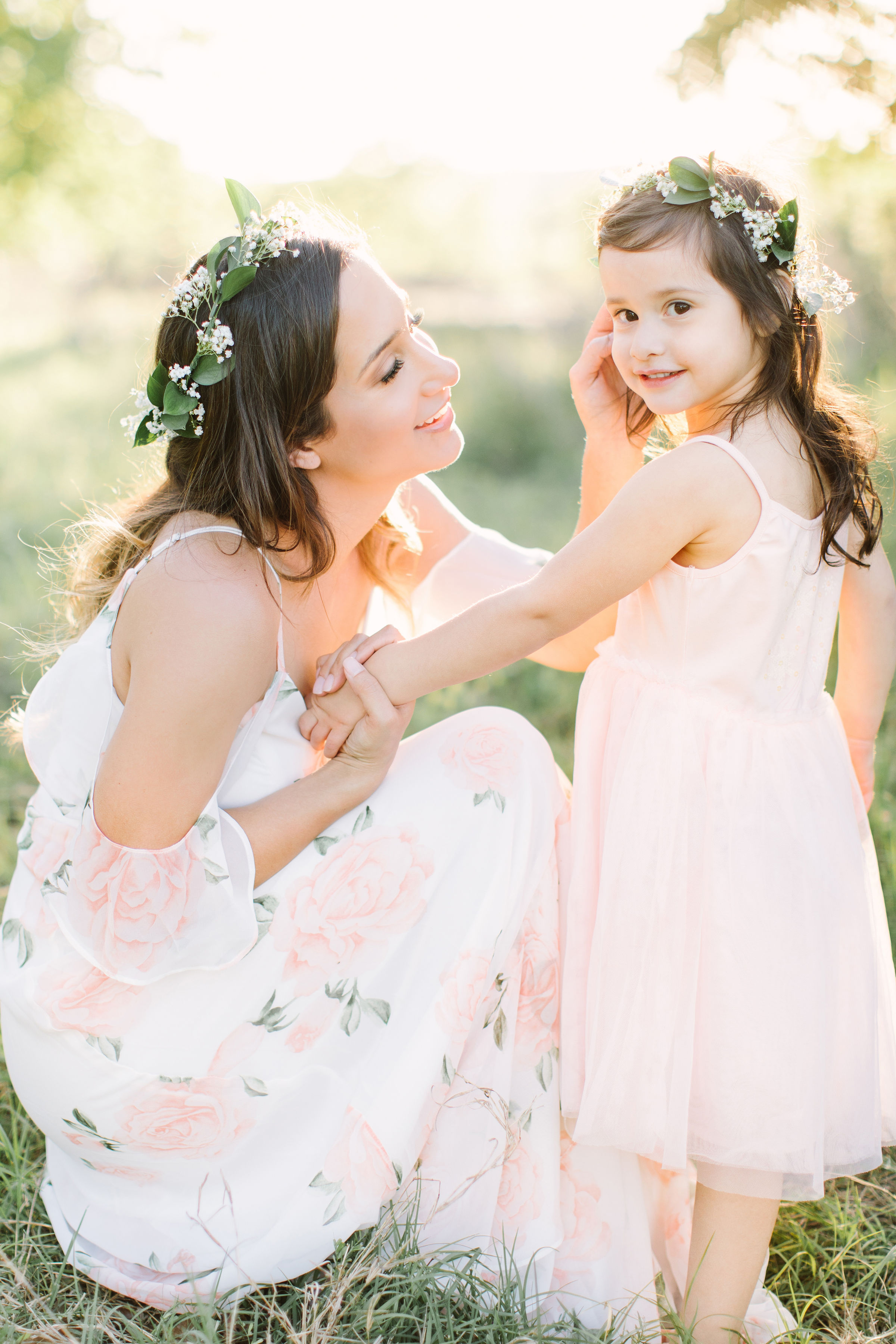 Katie Lamb, Photographer, Family, Light, Flower crown, Mother and Daughter