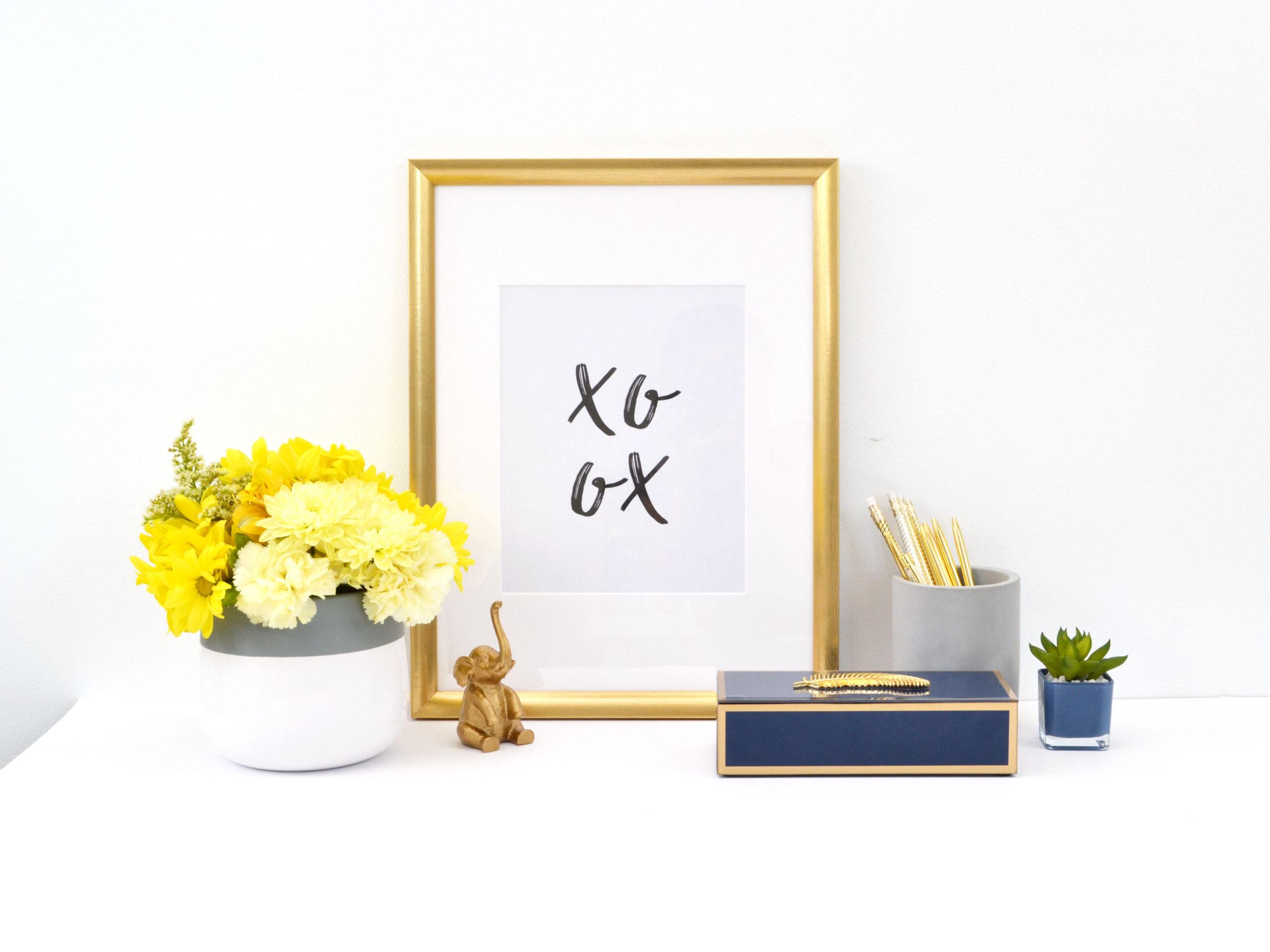 Framed photo, desk, prints, plant, work, office