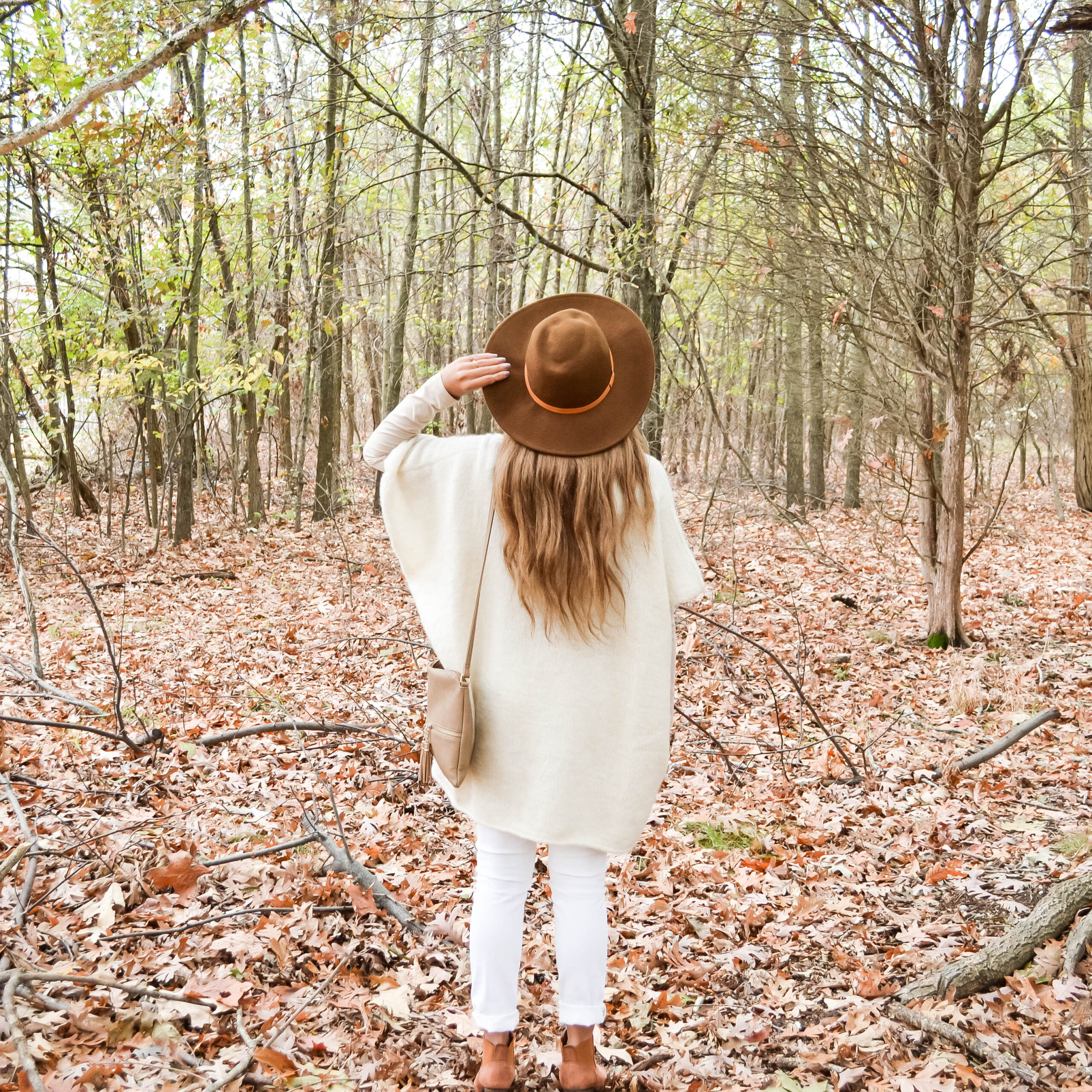 girl, hat, woods, forrest, fall, leaves