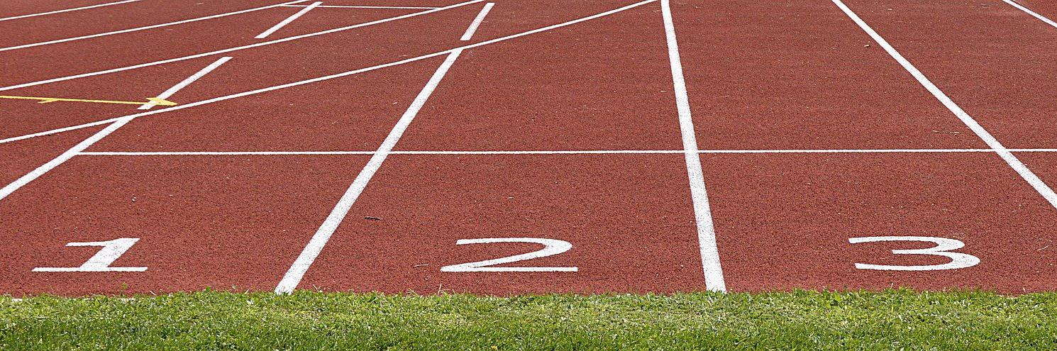 running track red asphalt numbers