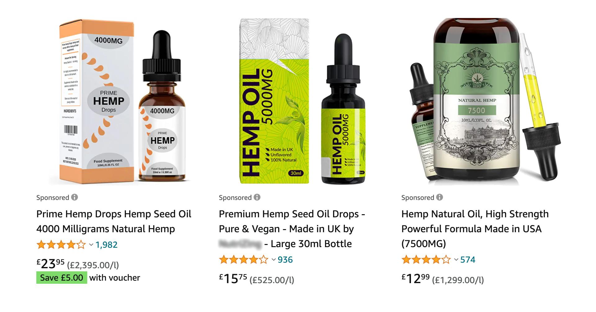 hemp oil products screenshot on amazon