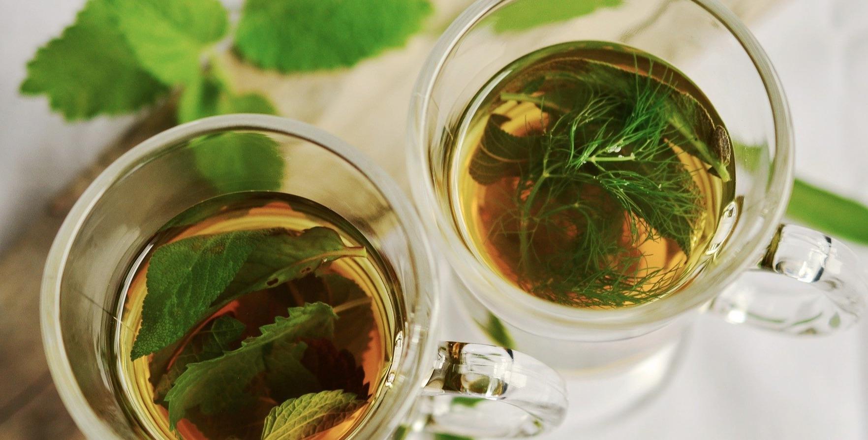 Herbal teas in glass mugs