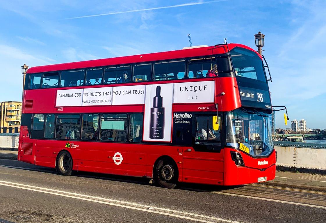 CBD advertisement on London bus side
