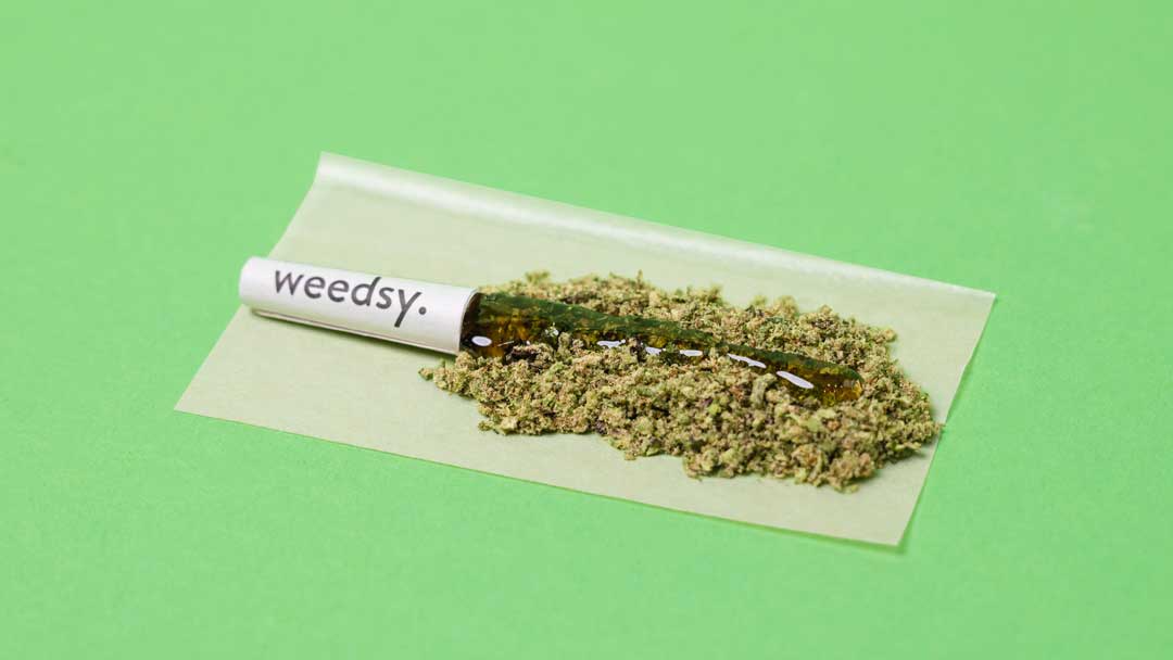 The kief, flower, and distillate that make up a Weedsy cannabis pre-roll