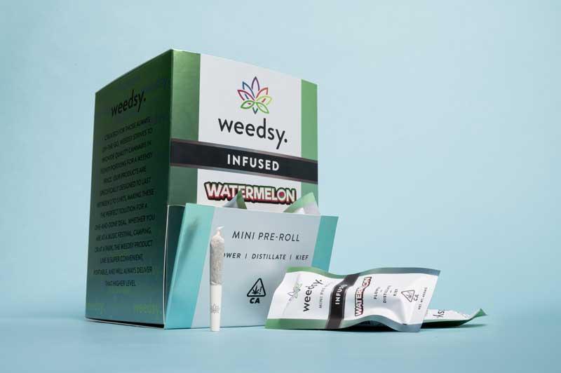 Box of watermelon-flavored cannabis pre-rolls