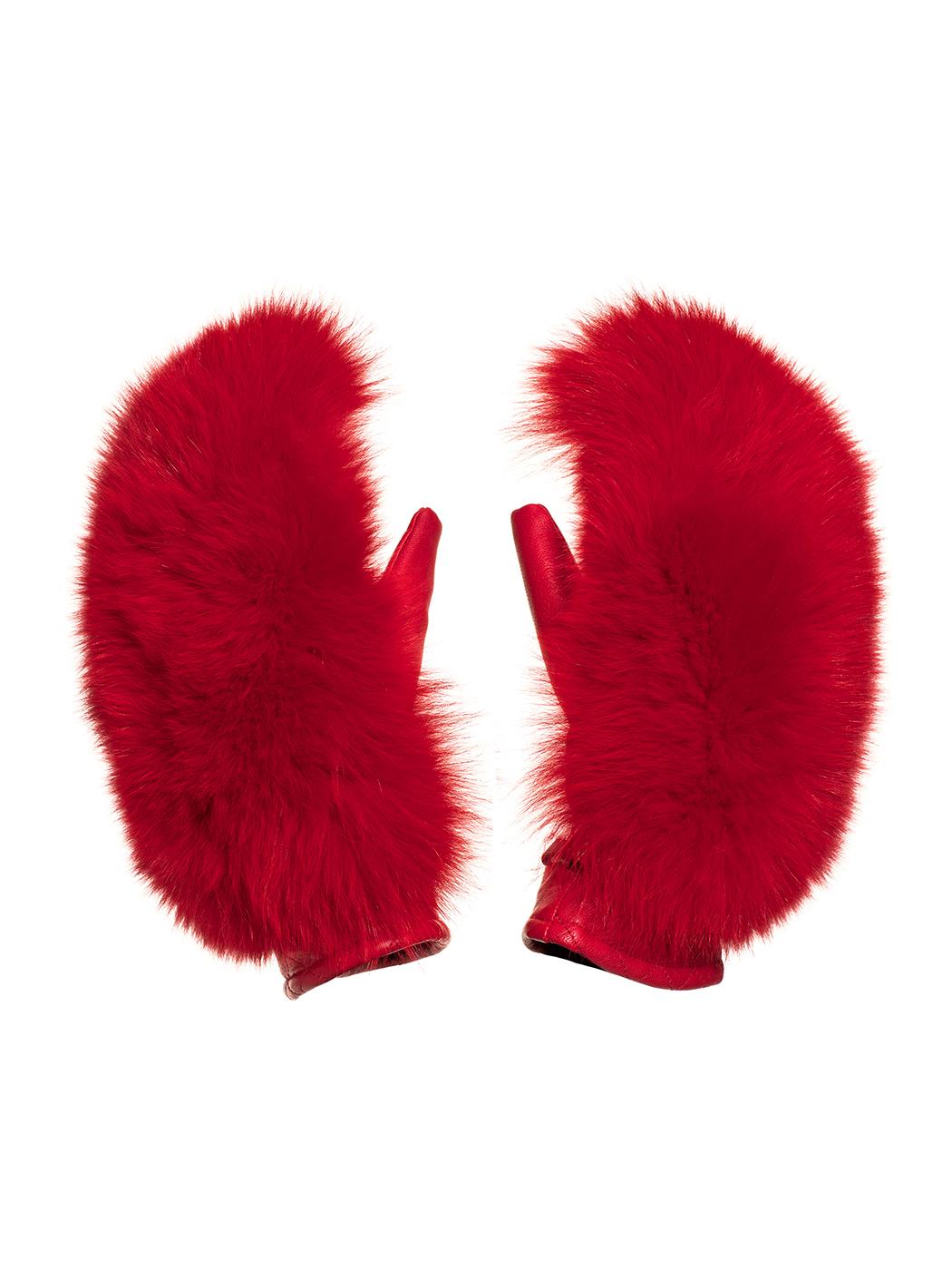 Goldbergh Hando Leather and Fur Mittens