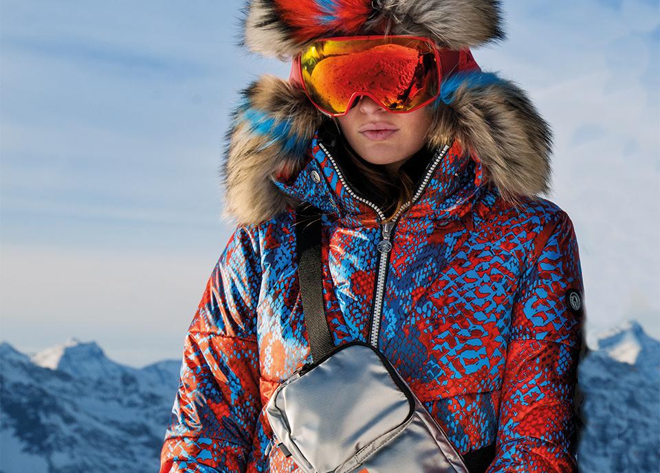 Sportalm Alpha Snake ski jacket in cobalt and orange