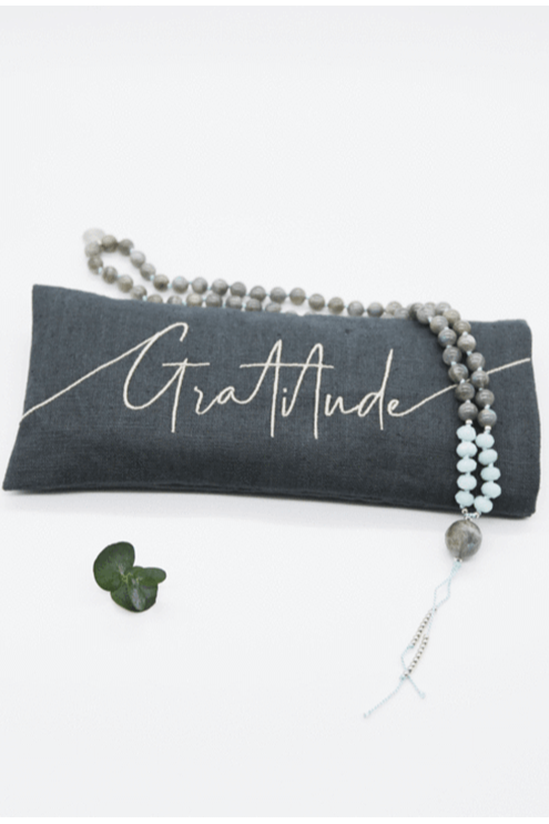 Gratitude Embroidered Lavender Eye Pillow